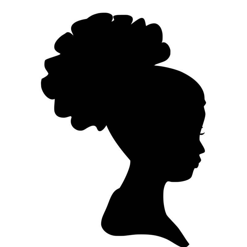 Head wrap clipart black and white download Curly Hair Silhouette at GetDrawings.com | Free for personal ... black and white download