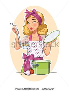 Curly hair country apron overhauls baking cookies clipart vector freeuse 16 best Baker images images in 2014 | Chefs, Baker image ... vector freeuse