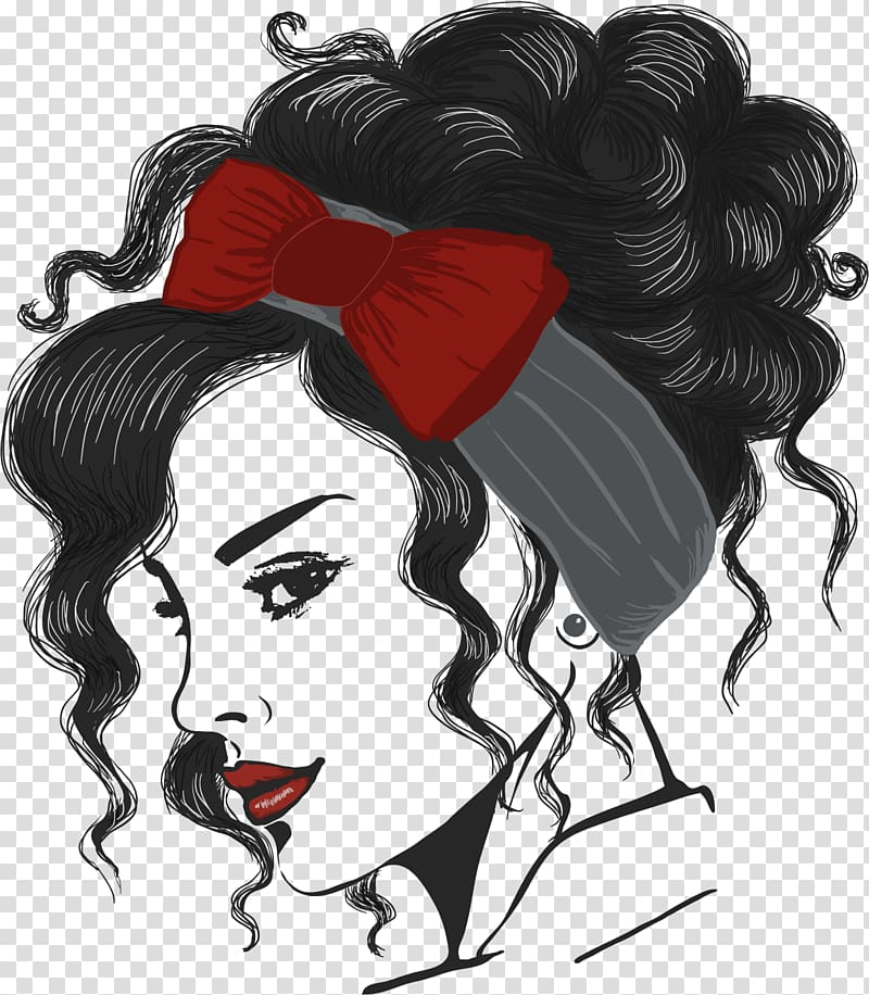 Curly hair girl clipart qith face paint clip black and white Woman with curly hair and red bow turban illustration, Female ... clip black and white