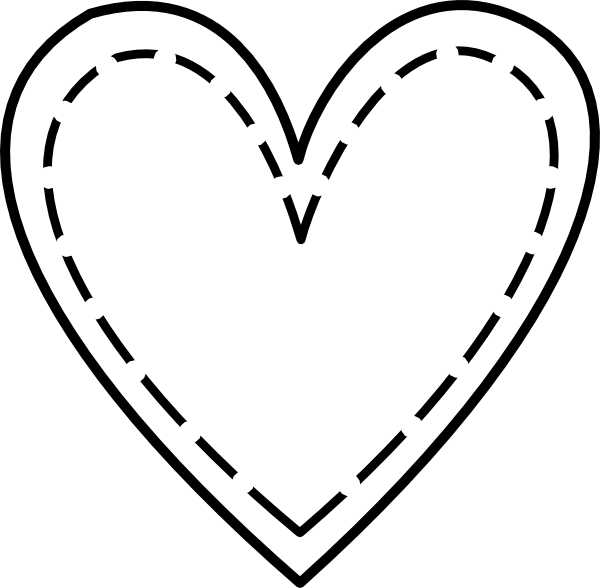Stitched heart clipart banner library Curly heart outline clipart png banner library
