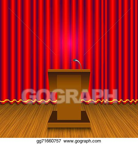 Curtain wall clipart jpg royalty free download EPS Vector - Podium and red curtain wall. Stock Clipart Illustration ... jpg royalty free download