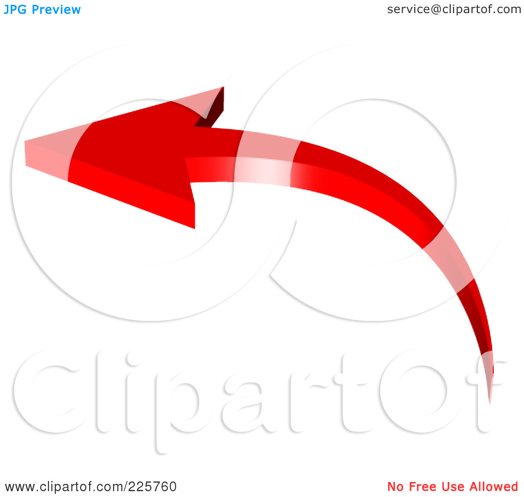 Curved arrow to left clipart. Royalty free rf illustration