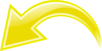Yellow signs symbol arrows. Curved arrow to left clipart