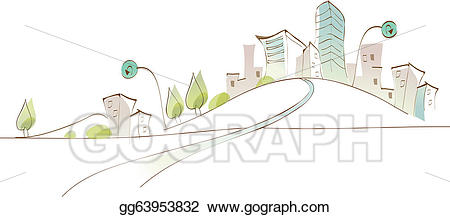 Vector Illustration - Curved path towards city. EPS Clipart ... svg royalty free library