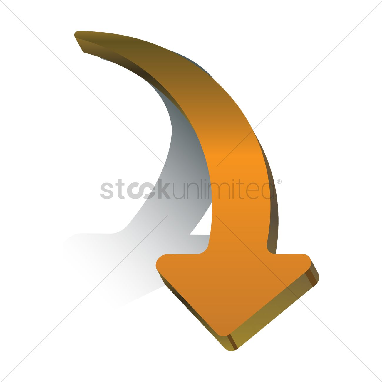 Curved right arrow sign clipart. Vector image stockunlimited graphic