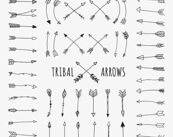 Curved tribal arrow clipart black and white clip art Doodle vector | Etsy clip art