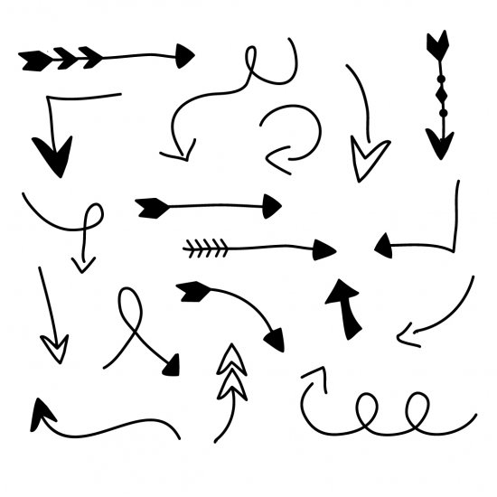 Curved tribal arrow clipart black and white. Hand drawn clipartfest arrows