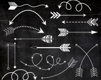 Chalk kid printable arrows. Curved tribal arrow clipart black and white