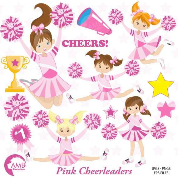 Cus clipart image library stock Cheerleaders Clipart, Pink Cheerleaders Clipart, Sports ... image library stock