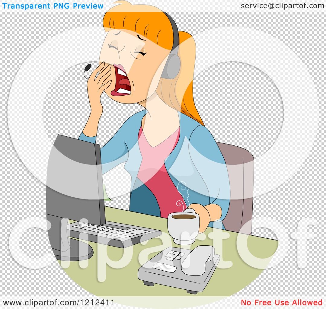 Customer service agent clipart png freeuse library Cartoon of a Yawning Female Customer Service Call Center ... freeuse library