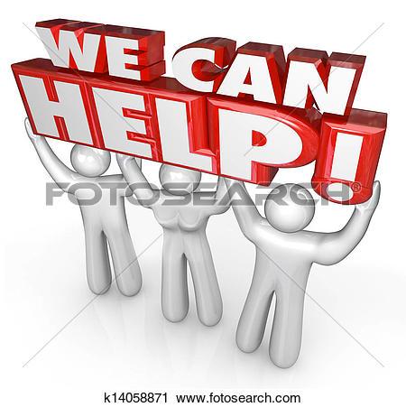 Customer service clipart and graphics jpg stock Clipart of We Can Help Customer Service Support Helpers k14058871 ... jpg stock