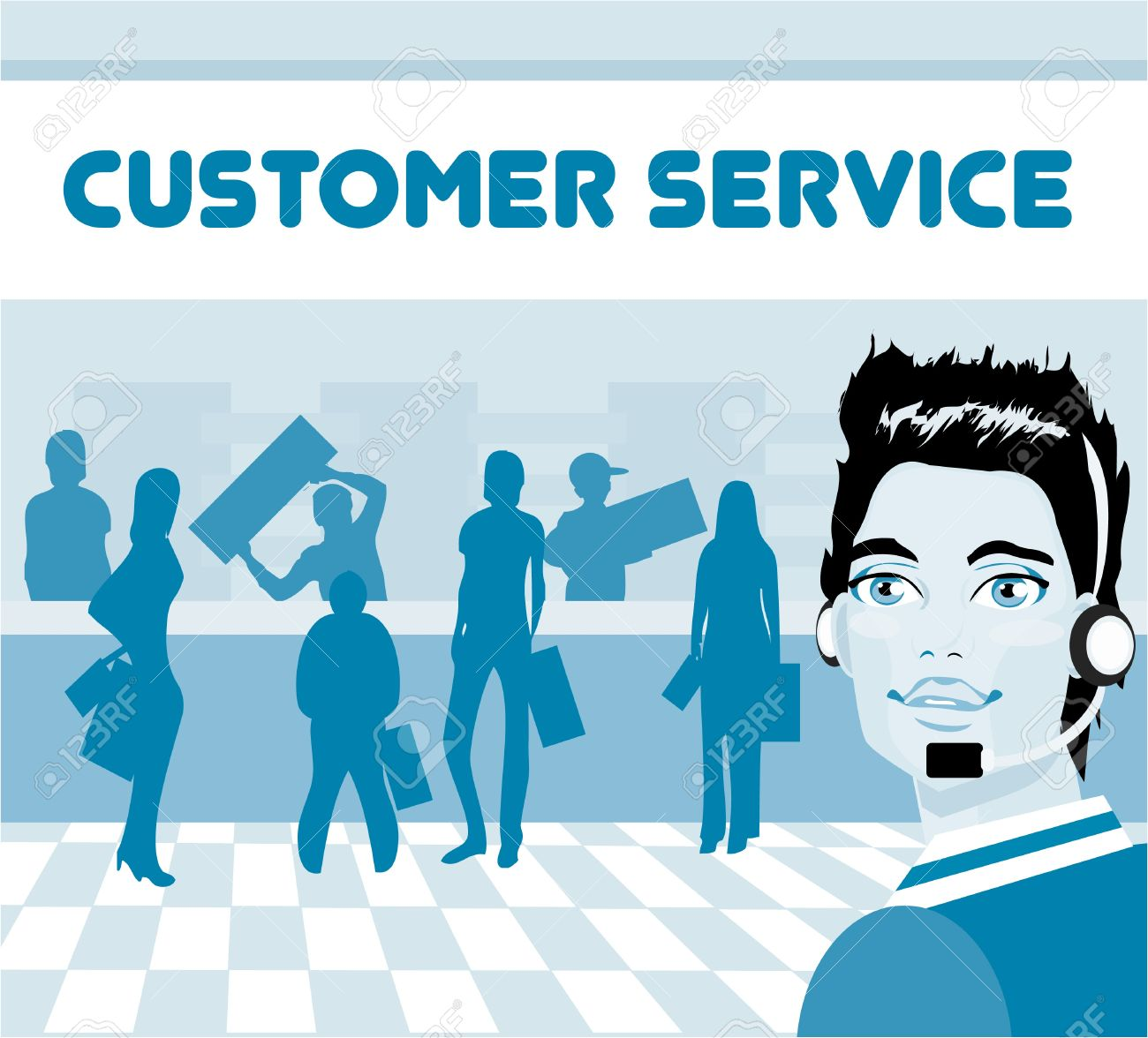 Customer service rep clipart graphic free Charming Customer Service Representative With Headset On, Group ... graphic free