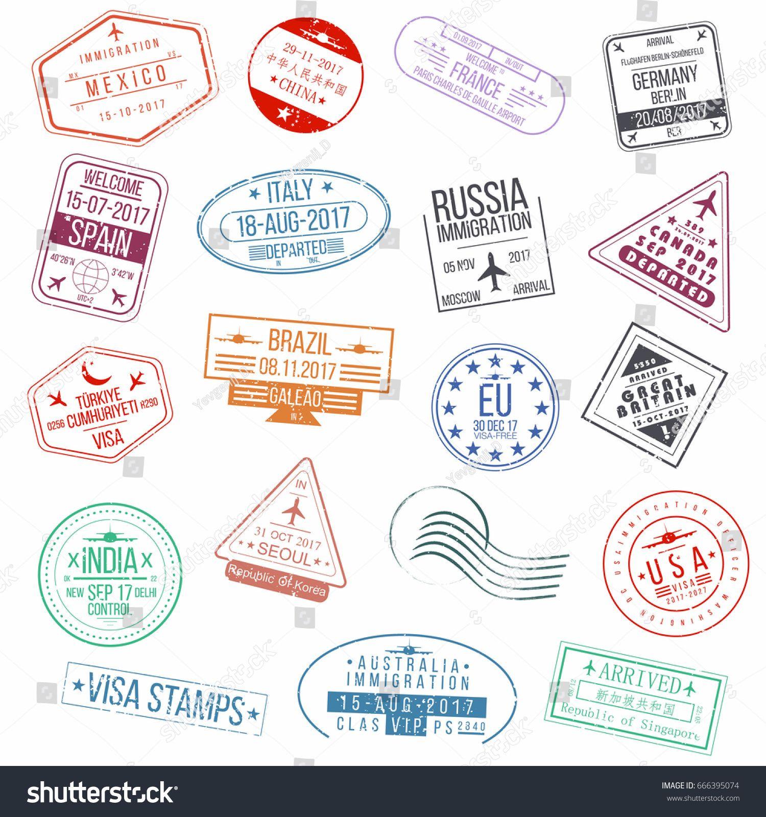 Customs at airport signage clipart stamp passport graphic Set of visa passport stamps. International arrivals sign ... graphic