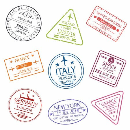 Customs at airport signage clipart stamp passport png free Passport stamp or signs for entry to the different countries ... png free