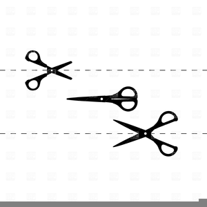 Dotted line with scissors clipart