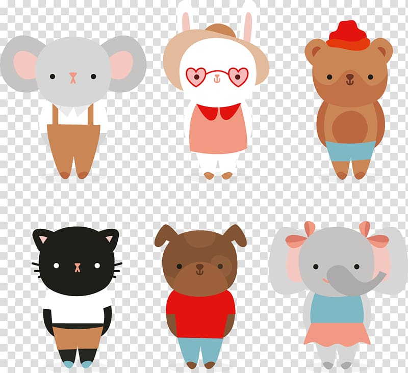 Dog Cat Cuteness Animal, 6 cute dressed animals material transparent ... clipart royalty free library