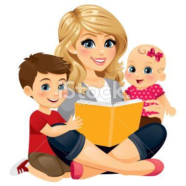 Cute animal mom reading book cartoon clipart jpg transparent stock A Mom/babysitter/nanny reading with two children.   Blogging ... jpg transparent stock