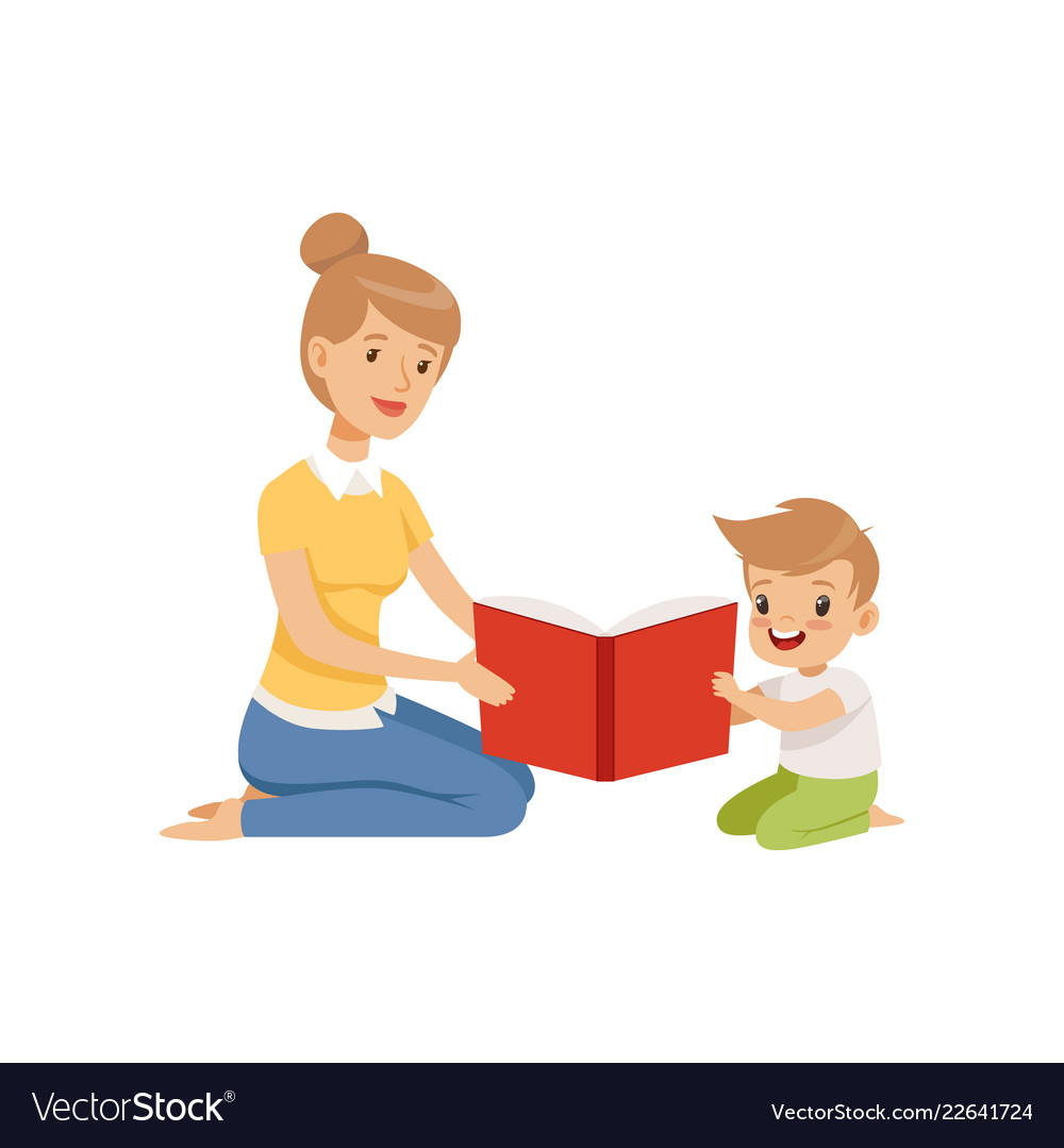 Free clipart kids reading sitting side by side banner Mother reading a book to her little son banner