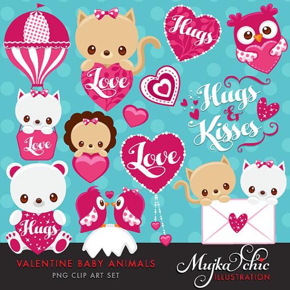Cute animal valentine clipart. S day baby animals