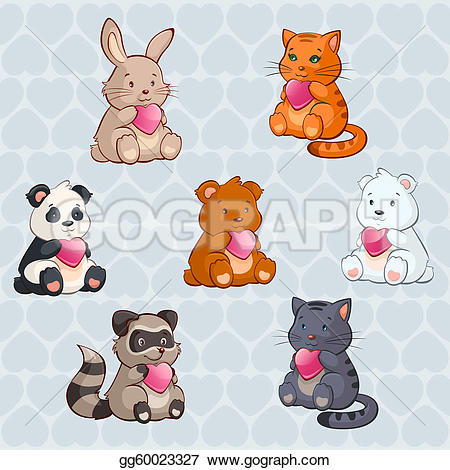 Cute animal valentine clipart. Vector baby animals holding