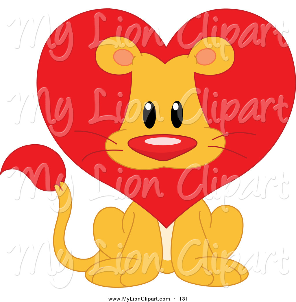 Clipartfest lion with a. Cute animal valentine clipart