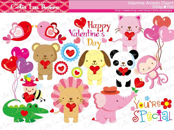 Valentines clipartfox animals . Cute animal valentine clipart