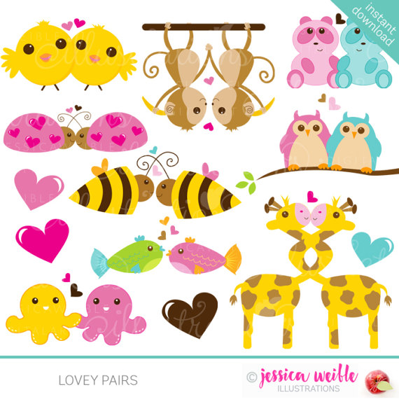 Lovey pairs digital commercial. Cute animal valentine clipart