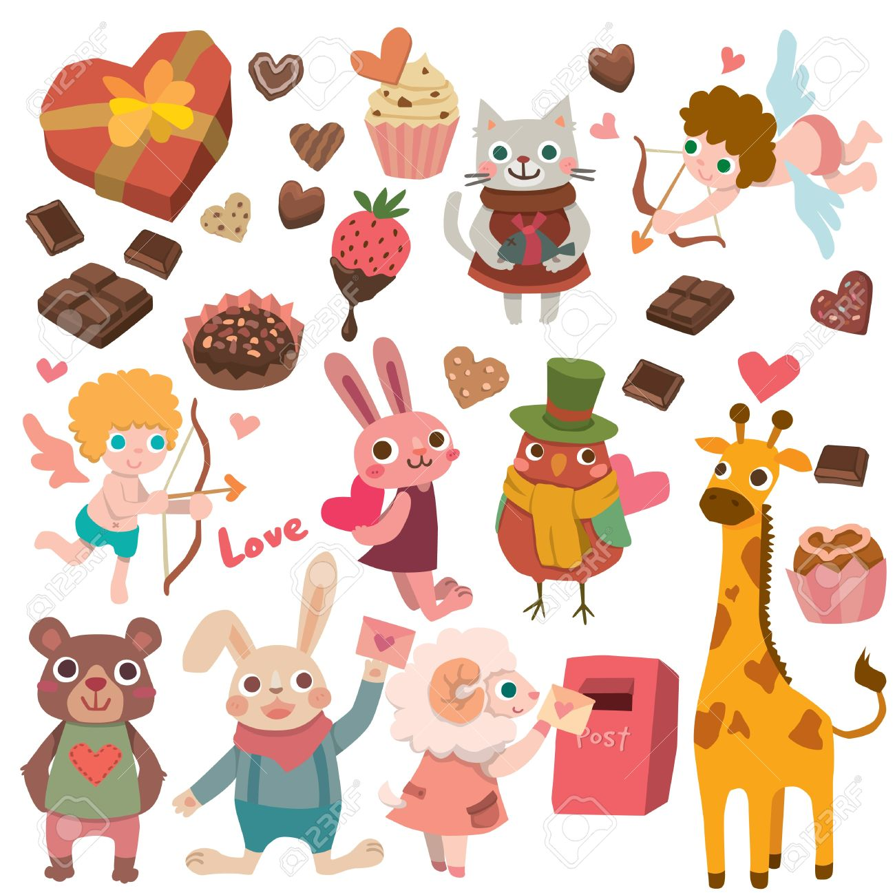 Cute animal valentine clipart jpg black and white download Valentines With Cute Animals Royalty Free Cliparts, Vectors, And ... jpg black and white download