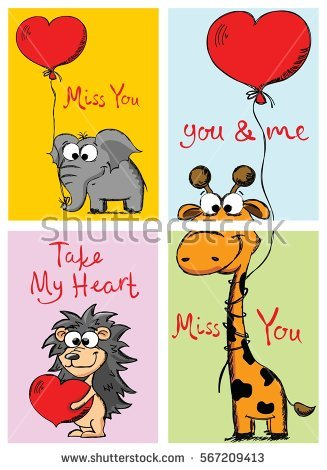 Cute animal valentine clipart picture black and white stock Giraffe Love On Valentines Day Vector Stock Vector 90250348 ... picture black and white stock