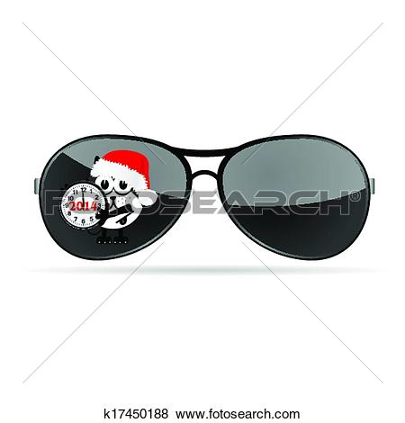 Clip Art of sunglasses with cute animal and christmas clock vector ... image royalty free