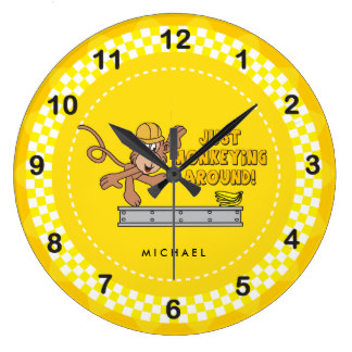 Cute animal with clock clipart png library Cute Animal Clipart Wall Clocks | Zazzle png library