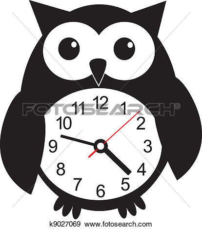 Clip Art of Cute wall clock owl sticker. Vector illustration ... picture library library