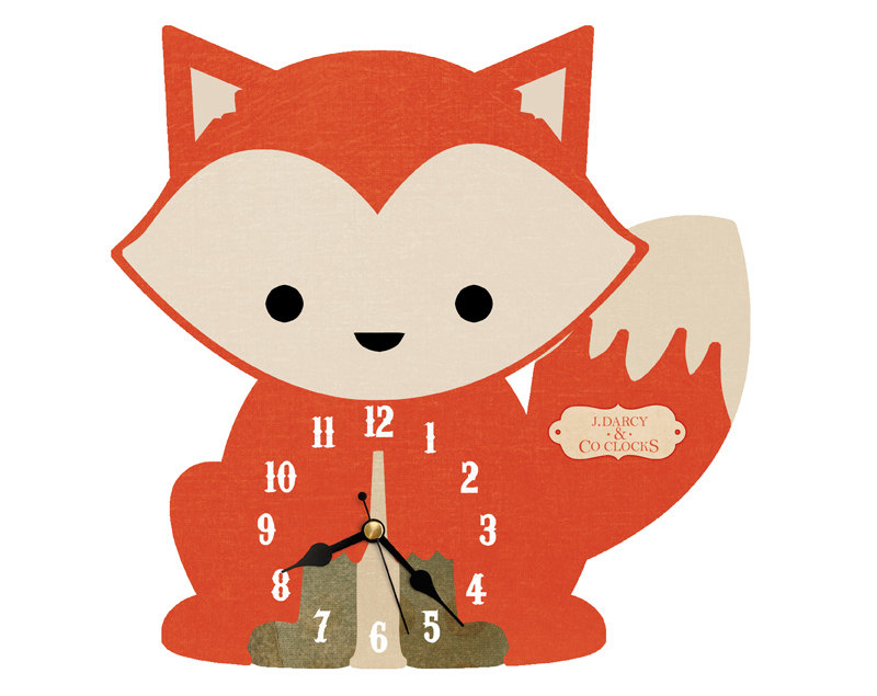 Cute animal with clock clipart jpg black and white stock Cute Fox Clock. Nursery Clock. Handmade Decoupage Wall Clock jpg black and white stock