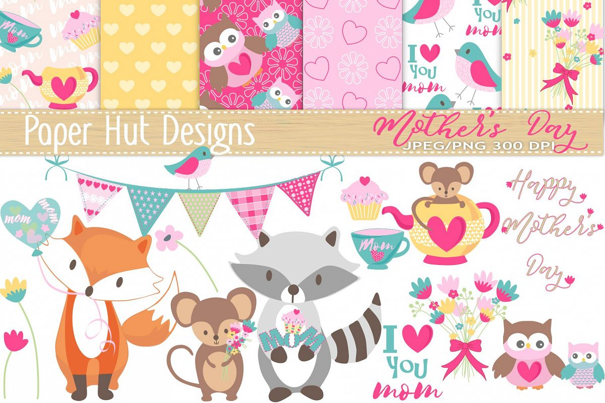 Mothers Day Cute Animal Clipart and Digital Papers Set vector royalty free library