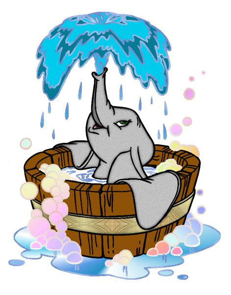 Cute animals taking baths and showers pinterest clipart image black and white stock Dumbo taking a bath. I don\'t know if this is in the movie ... image black and white stock