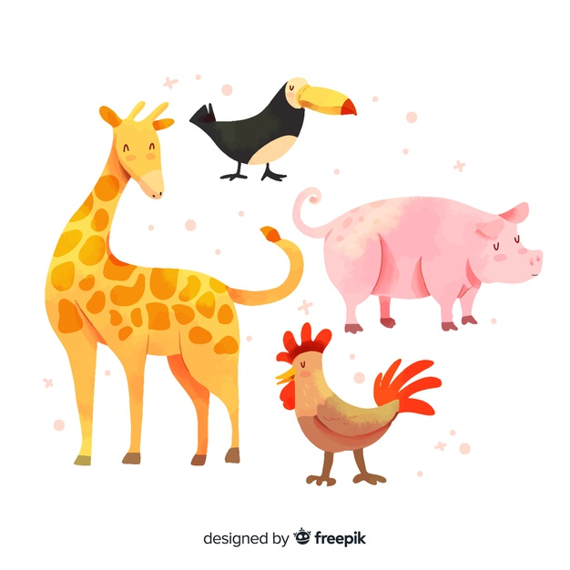 Cute animals taking baths and showers pinterest clipart image black and white Cute animal collection with giraffe Vector | Free Download image black and white