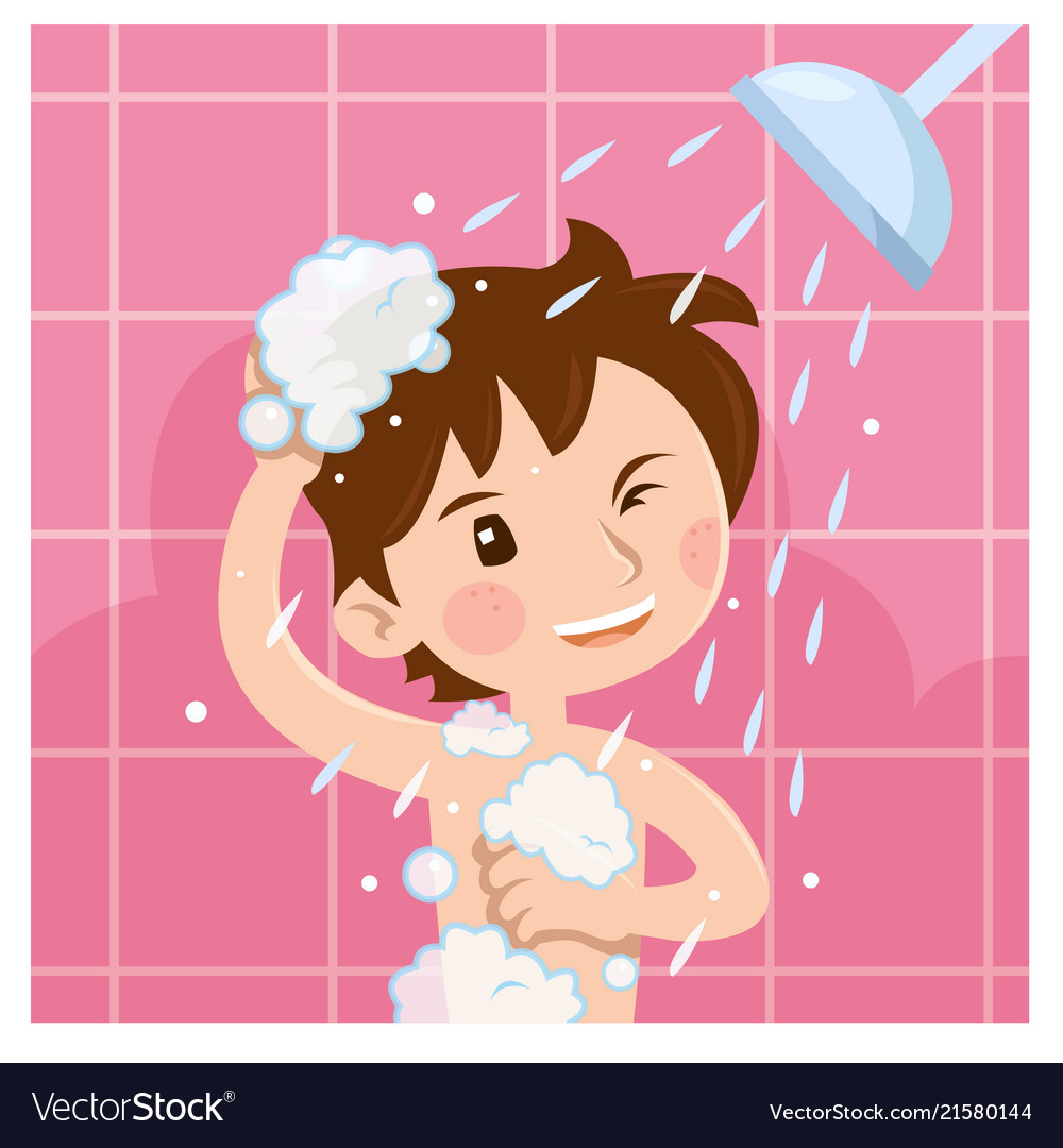Take a shower clipart vector royalty free download Cute boy taking shower in bathroom in the morning vector royalty free download