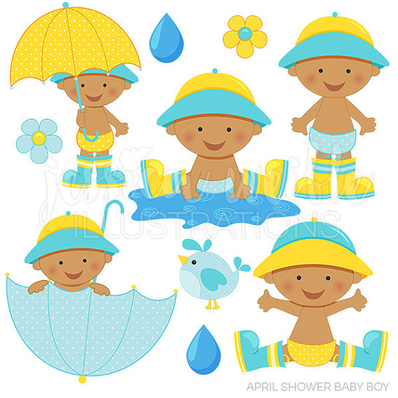 Cute april clipart image library library April Shower Baby Boy Dark Cute Digital Clipart for Invitations ... image library library