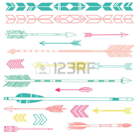 Cute arrow clipart.  feather stock vector