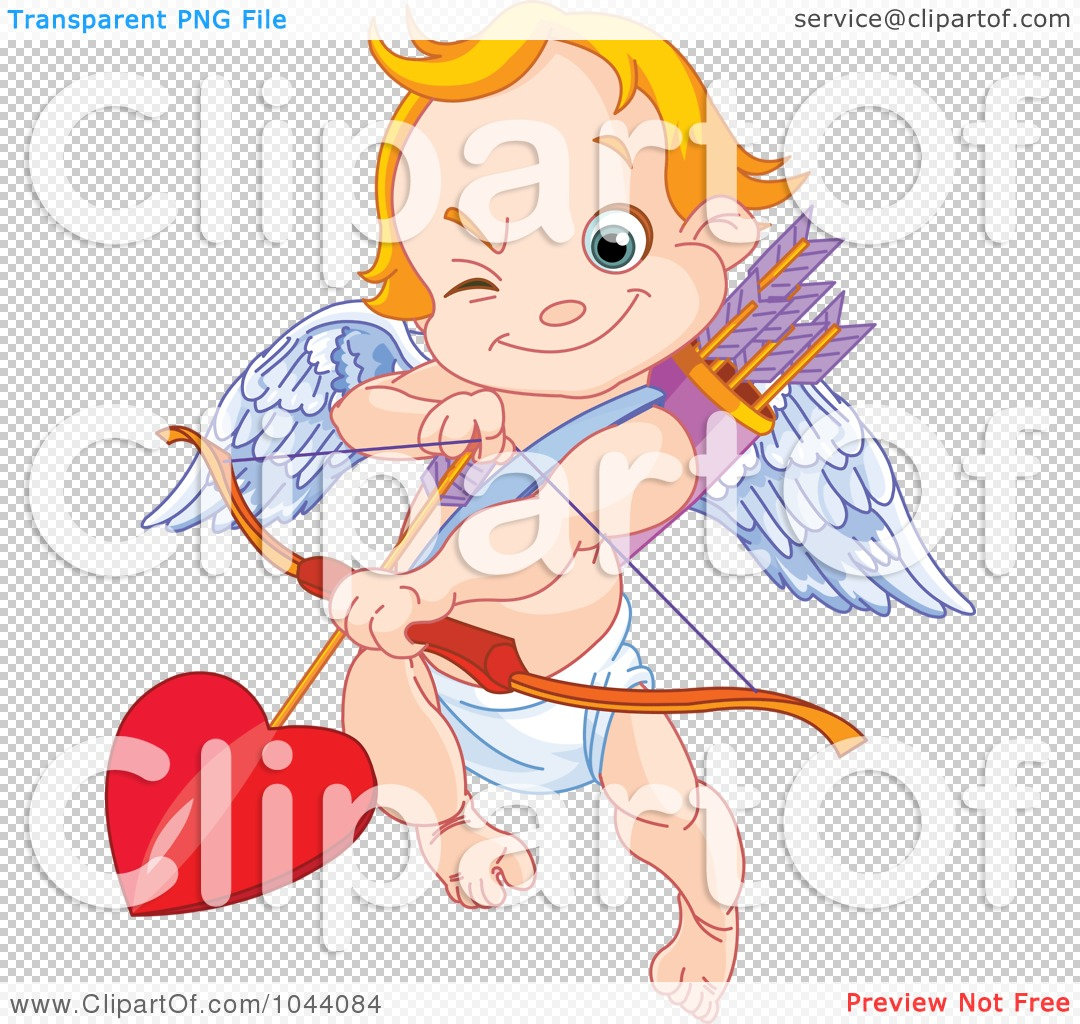 Royalty-Free (RF) Clip Art Illustration of a Cute Cupid Aiming ... image freeuse stock
