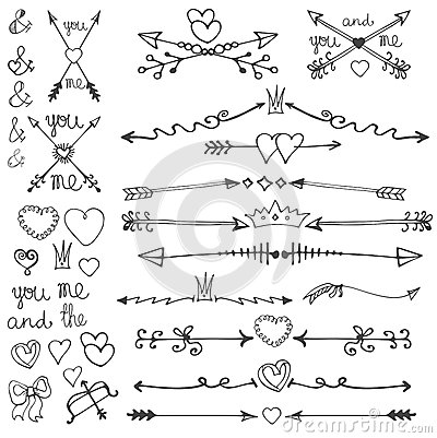 Cute arrow heart clipart clip art stock Doodle Hand Drawn Arrows,hearts,elements.Valentine Stock Vector ... clip art stock