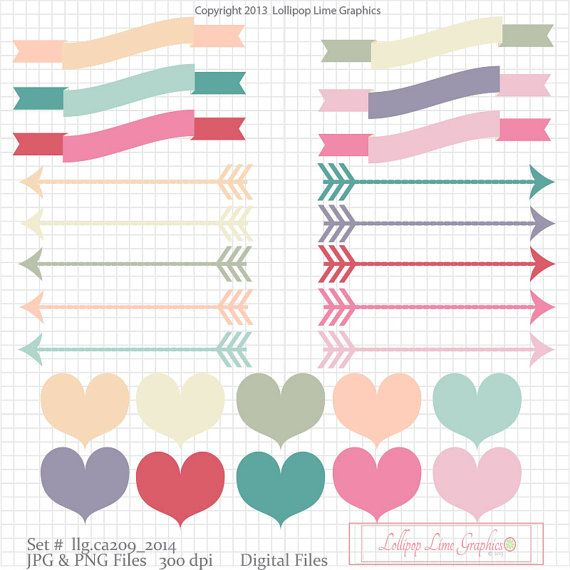 Cute arrow heart clipart picture royalty free Digital Clipart Banner Clipart Scroll Clipart Heart Clipart Pastel ... picture royalty free