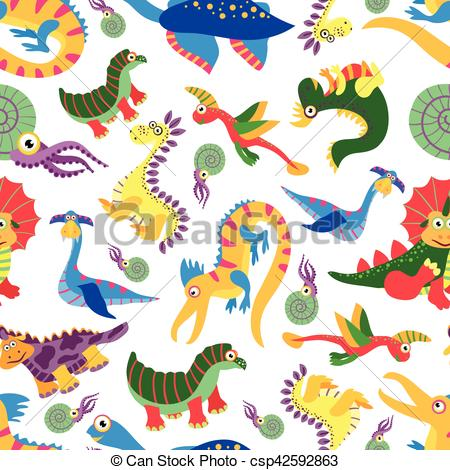 Cute baby clipart patterns jpg black and white Clip Art Vector of Cute baby dinosaurus pattern. Dinosaur cartoon ... jpg black and white