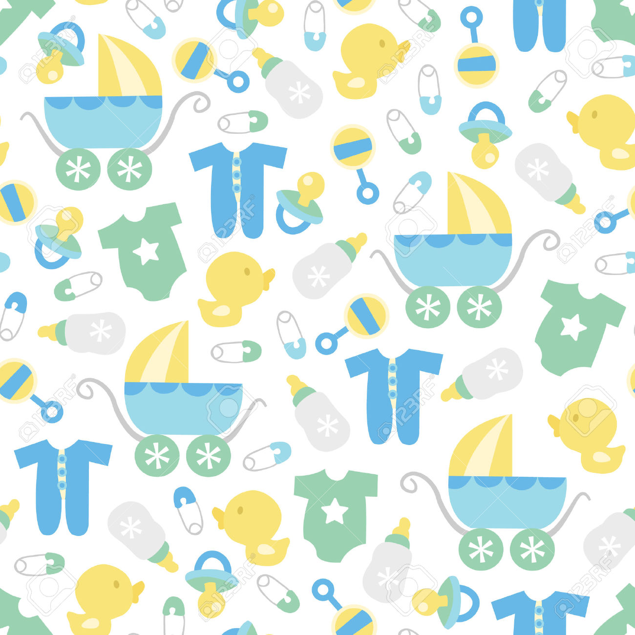 Cute baby clipart patterns graphic free A Vector Illustration Of A Cute Retro Baby Boy Theme Seamless ... graphic free