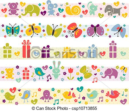 Cute baby clipart patterns library Clipart Vector of Cute borders with baby icons. - Cute borders ... library