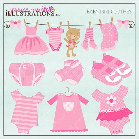 Cute baby clipart patterns clipart black and white download Baby Girl Clothes Cute Digital Clipart - Commercial Use OK - Pink ... clipart black and white download