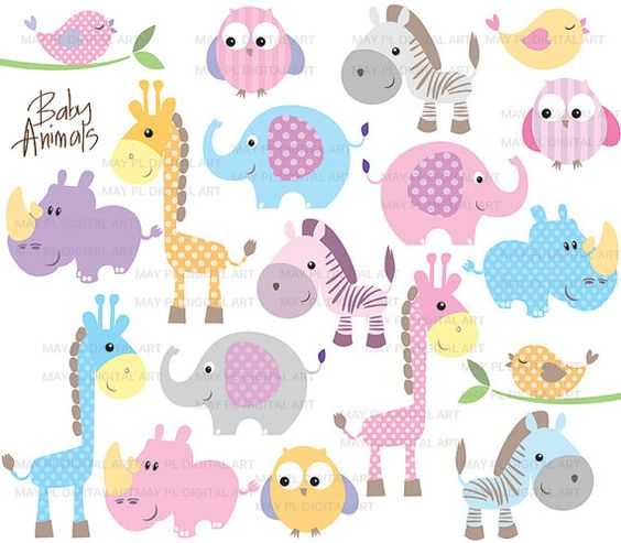 Cute baby clipart patterns clip art freeuse download Baby Animals Clipart DIY Baby Shower Pastel Cute Elephant Giraffe ... clip art freeuse download