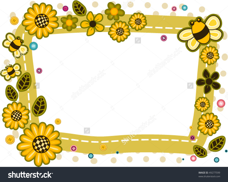 Cute baby storybook frame clipart clip art download Sunflower Bee Frame Vector Stock Vector 49277599 - Shutterstock clip art download