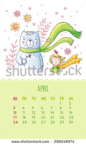 Cute bear april clipart clip freeuse stock Cute Calendar 2016 Hand Drawing Illustration Stock Illustration ... clip freeuse stock