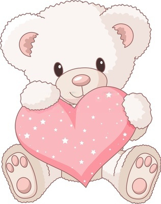 Cute bear valentine clipart. Printable kid
